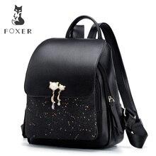 FOXER Girl's School College Backpack Large Capacity Women's Leather Satchel Cowhide Ladies Travel Rucksack Female Shoulder Bag