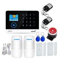 Sistema de alarme segurança em casa gsm sem fio wi fi gprs app controle remoto rfid cartão braço desarmar sirene detector movimento pir sensor|Kits de sistema de alarme| |  -