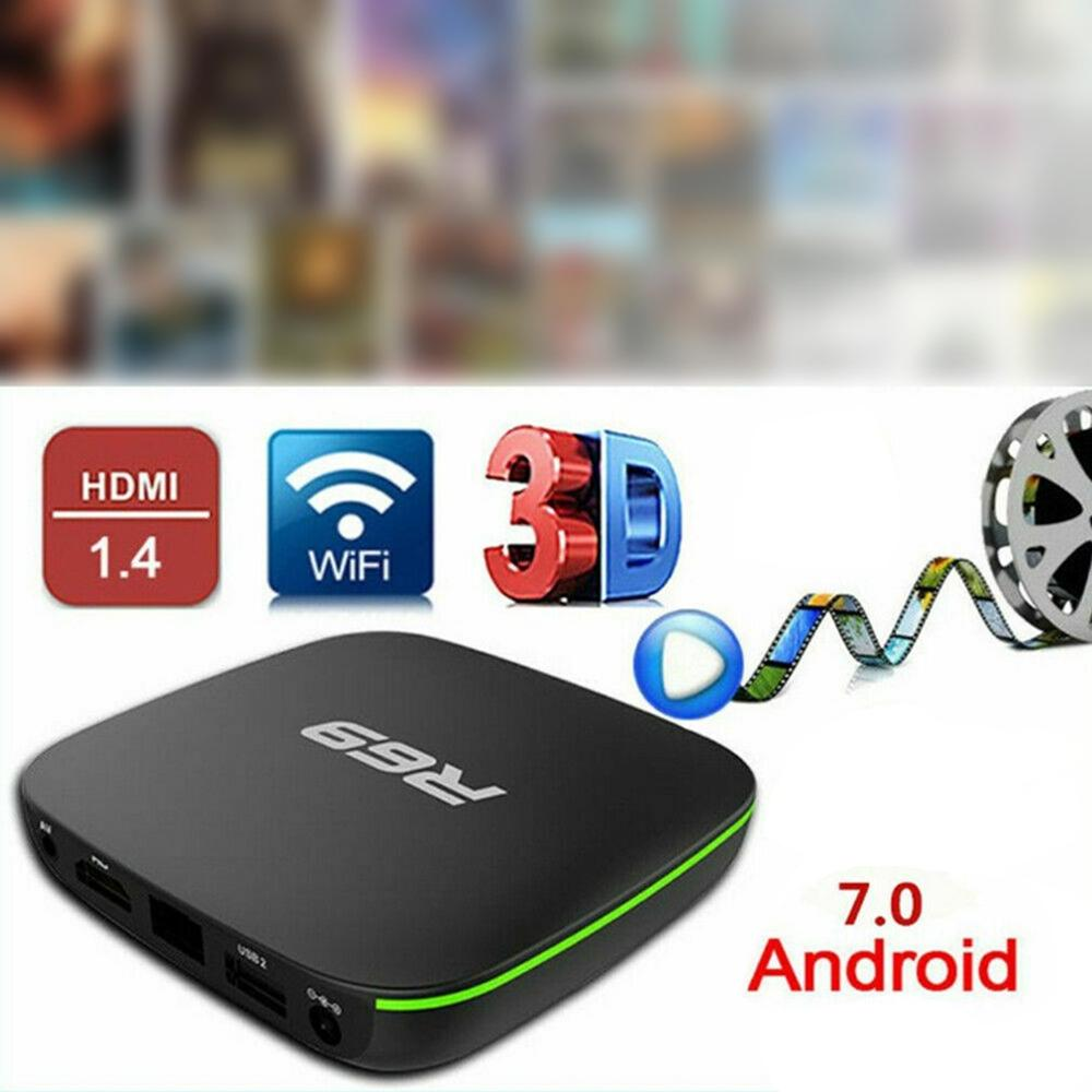 R69 Android 7.1 Smart TV Box 1+8G Quad Core HD 2.4GHz WiFi 4K Media Player 1080P HD Support 3D Movie UK Plug