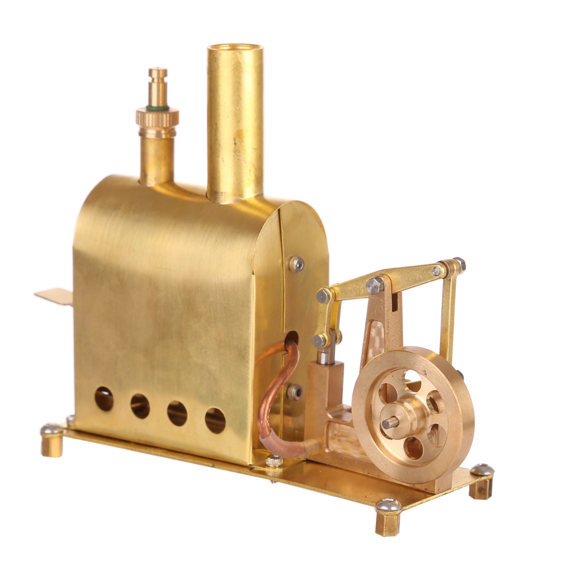 11.3 X 4.5 X 10CM Mini Pure Copper Steam Engine Model With Boiler Creative Gift Set