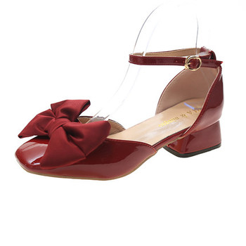 Women's shoes with heel 2020 summer and autumn new cute bow evening thick heel buckle small leather shoes