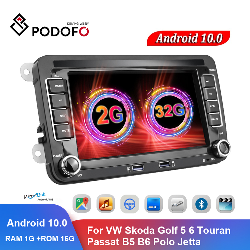 Автомобильный мультимедийный плеер Podofo, стерео-система на Android, с 7