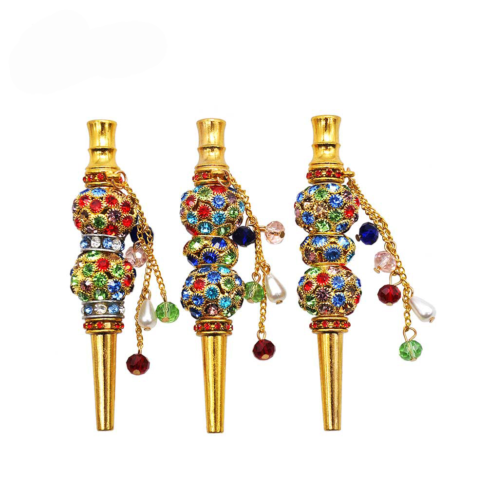 Fashion Hand Inlaid Jewelry Alloy Hookah Mouth Hookah Pipe 103MM Tea Filter Hookah Tongue Mouth Hookah Accessories