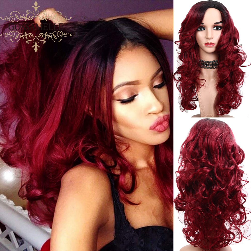 Gossamelle Synthetic Hair Dark Red Cosplay Wigs High Temperature Fiber ombre Long Wavy Wigs For Women Perruque