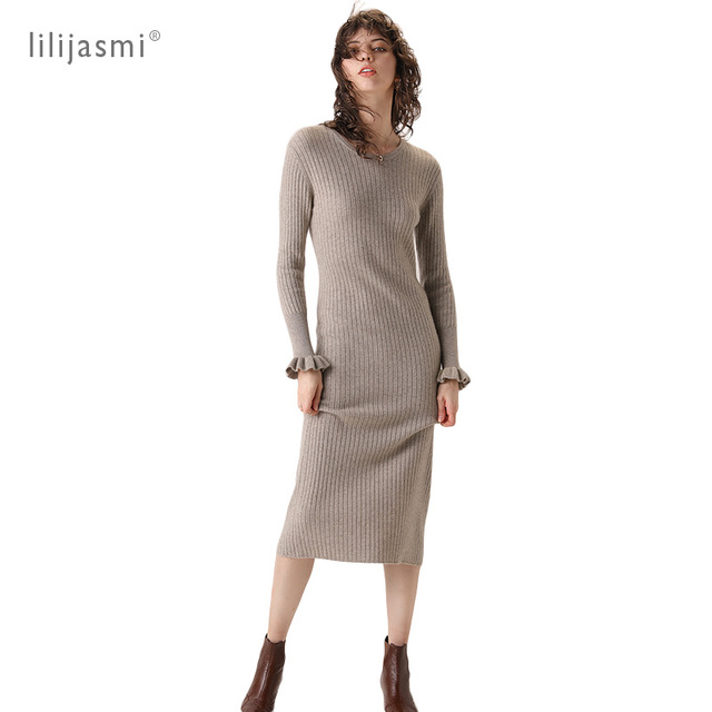 2019 Women 100% Cashmere O neck Knit Long Dress Allover Ribbed Winter Dress Flare Sleeve Straight Soft Long Knitwear Sweaters