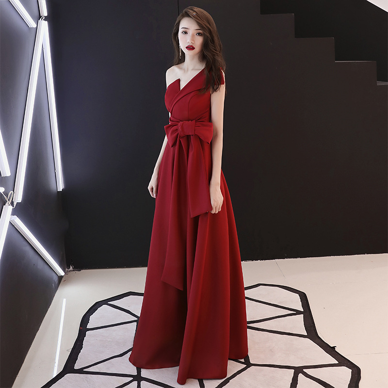 Bride Dress For Toast Women's 2019 New Style Summer Red, Long Princess Slimming-Marriage Fashion Evening Dress Women's