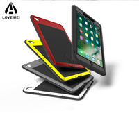 LOVE MEI Powerful Case For iPad 9.7 inch 2017/2018 Tablet Case Shockproof Metal Aluminum Armor E book Cases with Tempered Glass