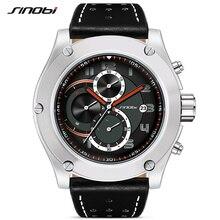 SINOBI männer Sport Uhr Luxus Männlichen Leder Wasserdichte Chronograph Quarz Uhren Military Armbanduhr Männer Uhr Reloj Saat