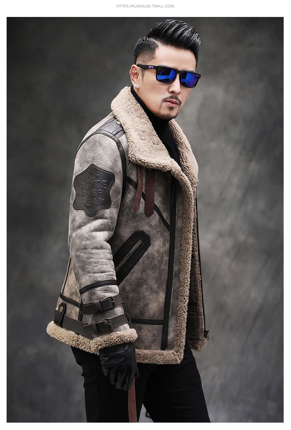 H709b3972c54c47c2967b0478525071fem 2019 Fashion 100% Quality Real Sheepskin Fur Men Coat Genuine Full Pelt Sheep Shearling Male Winter Jacket Brown Men Fur Outwear