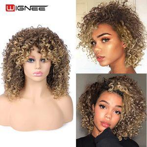 Image 3 - Wignee кудрявые афро вьющиеся парики с челкой смешанный коричневый блондинка синтетические парики для чернокожих женщин афроамериканские волокна натуральные волосы парики