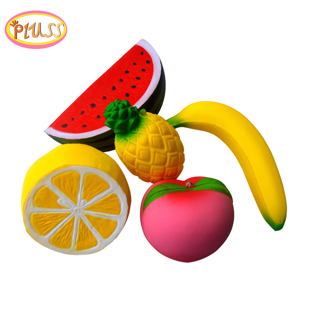 Squishy Pack Fruit Set Squishies Peach Banana Strawberry Pineapple Mango Watermelon Apple Squeeze Stress Relief Toy Ball