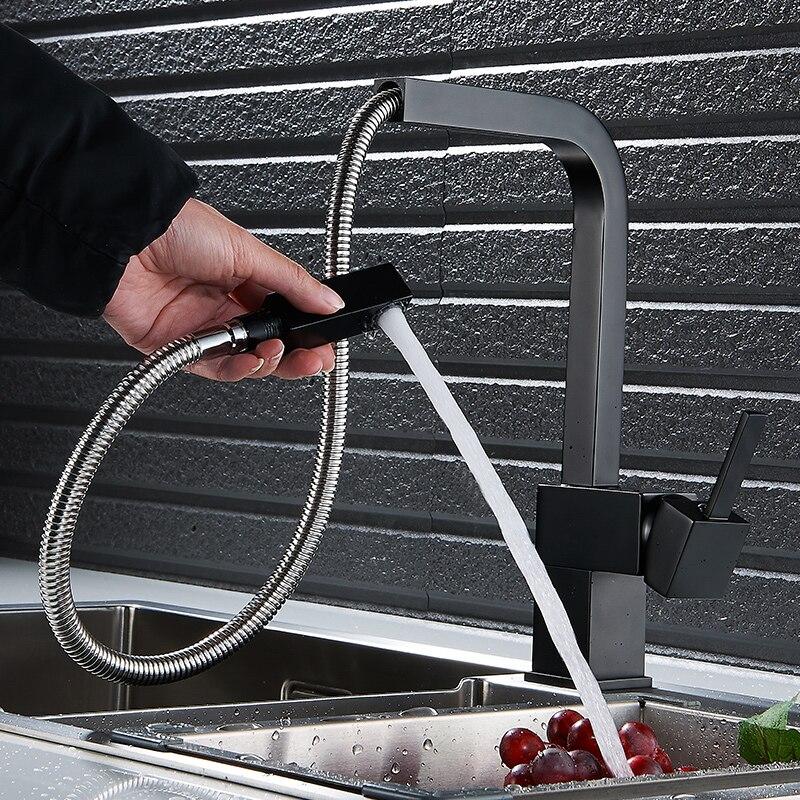 Robinets de cuisine cuivre évier de cuisine chaud et froid pompage robinet rotatif noir mat dessin carré mixte