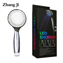 ZhangJi светодиодный ручной душ 3 цвета контроль температуры Лейка с красочной коробкой