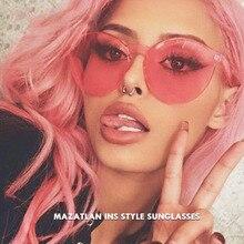 Mazatlan Love Heart Sunglasses Women Rimless Vingtage Sunglasses