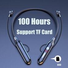 100 heures Dendurance Bluetooth Écouteurs Stéréo Casque Sans Fil de Bande Dencolure Puissance LED Affichage Casque TF Carte