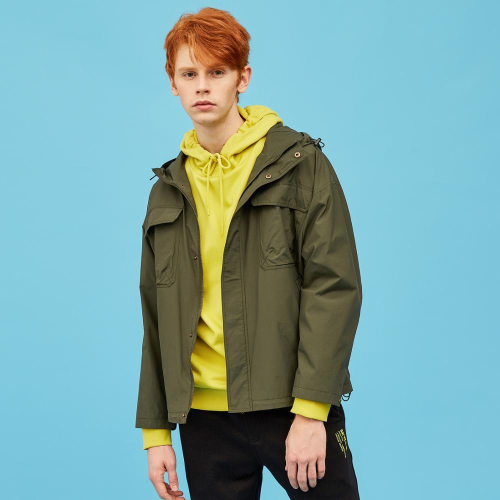 Metersbonwe, Мужская Новинка 2020, Весенняя повседневная куртка, Мужская, красивая, модная, с капюшоном, однотонная, расслабленная, трендовая, повсе... - 3