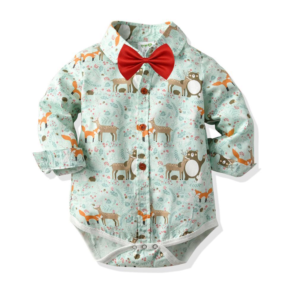 Bebê recém-nascido Bodysuit Laço Vermelho Roupas Menino de Algodão Dos Desenhos Animados impressão de mangas Compridas Outono Inverno Moda Infantil Roupas Macacão Infantil