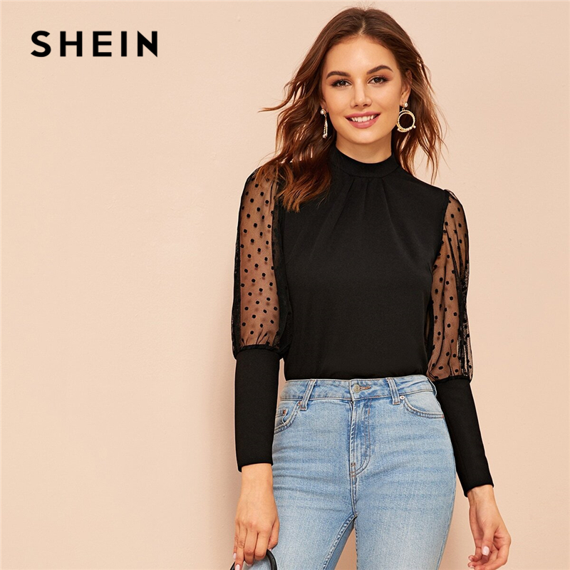 SHEIN Dobby Mesh Leg-of-mutton Sleeve Top Women Spring Autumn Keyhole Solid Stand Collar Blouses And Tops