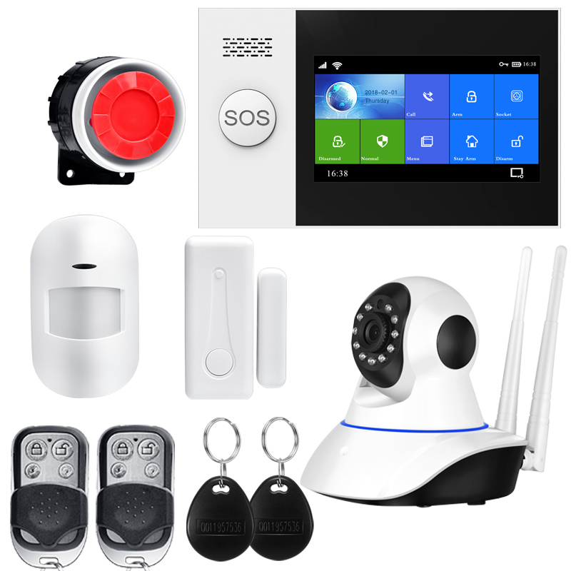 Wireless Wire Home WIFI GSM Security Alarm System Kit APP Control With Auto Dial Motion Detector Sensor Burglar Alarm System