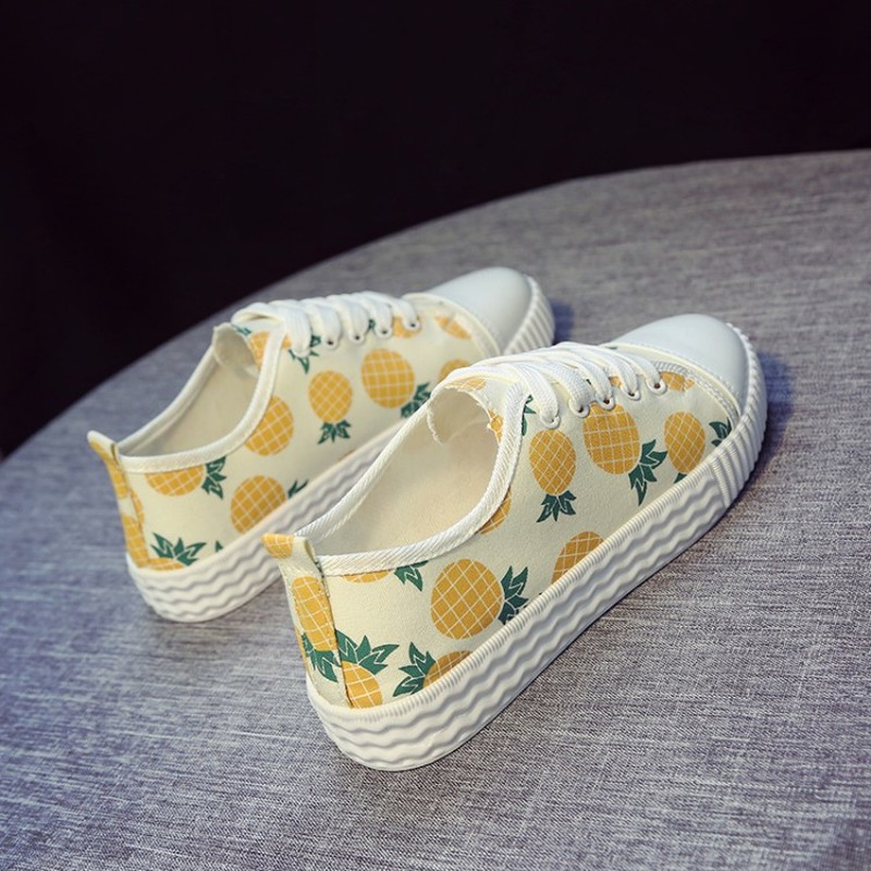 Spring New Trend Women Sneakers Casual Women's Pineapple Print Vulcanize Shoes Comfortable Shoe Female Flat Platform K20-02