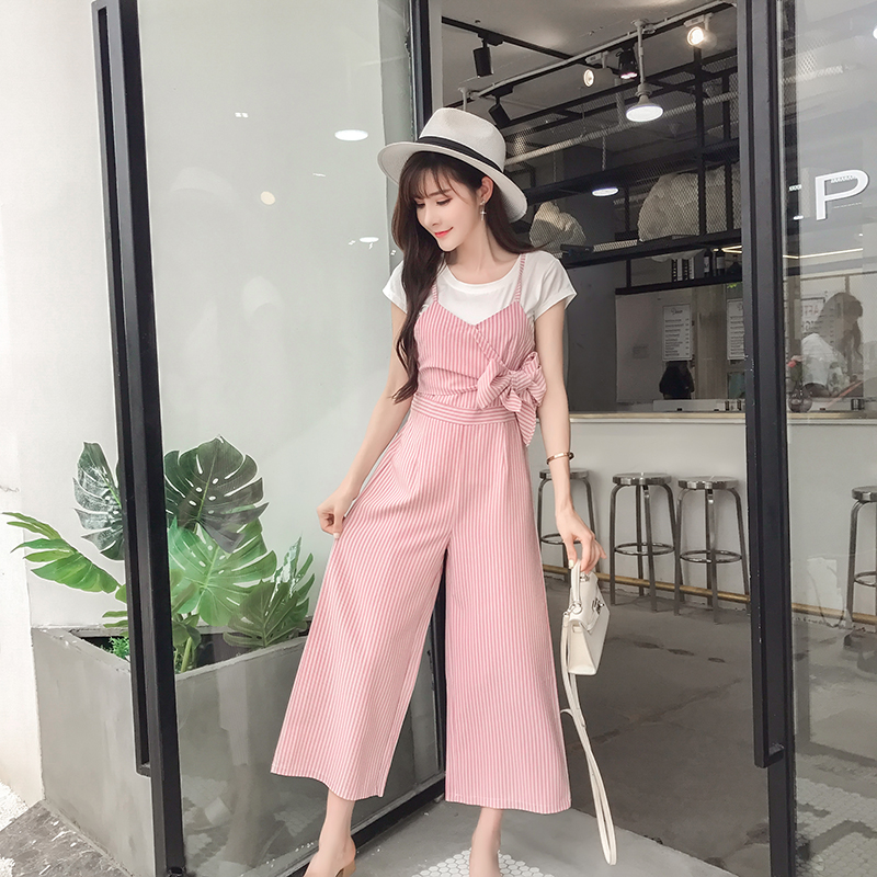 Summer Casual Ladies Women Sleeveless  Striped With Belts Casual Playsuits Jumpsuit Wide Leg Bodysuits Pants Outfits 2019