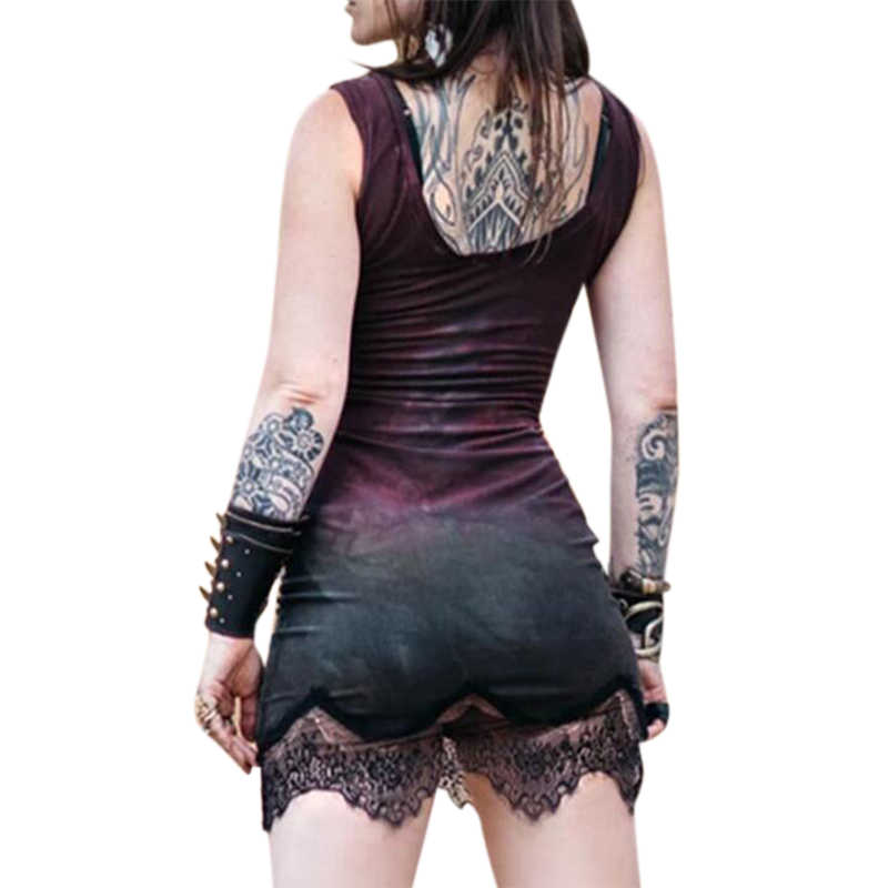 Vicabo 5XL Womens Tank Jurk Zomer Mode Mouwloze Jurken 2020 Kant Zoom Mini Slim Fit Zon En Maan Print Gothic vestidos