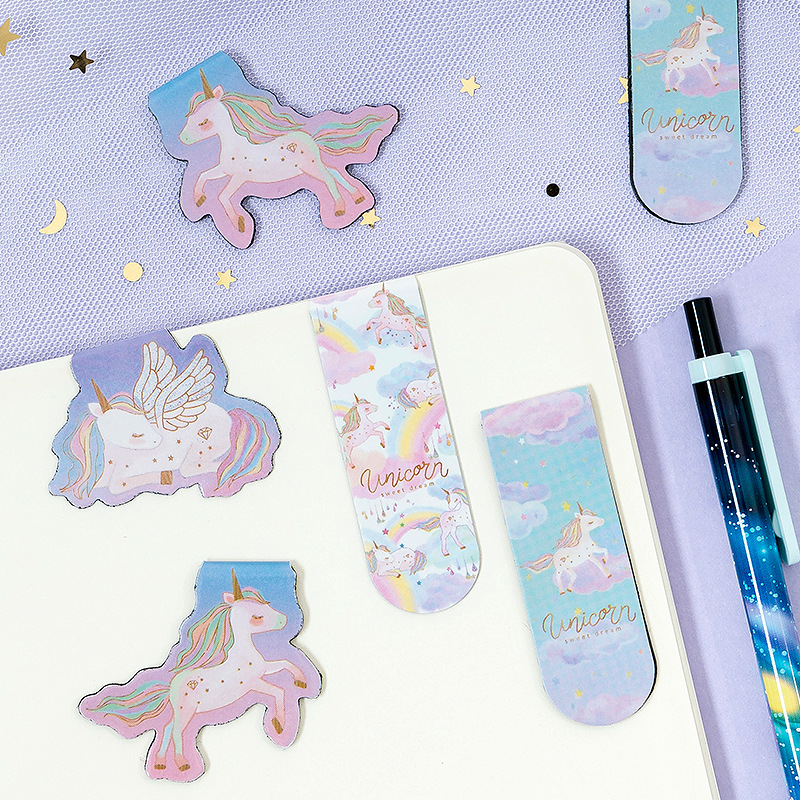 2 Pcs/pack Unicorn Magnet Bookmark Kawaii Paper Clip Animal Bookmarks For Book School Office Supplies Stationery Gift