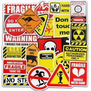Image 2 - 50 Pcs Warning Signs Stickers for Laptop Motorcycle Luggage Bike Guitar Home Decor DIY Danger Banning Reminder Funny Sticker