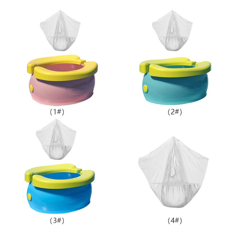 Portable Baby Infant Chamber Pots Foldaway Toilet Training Seat Travel Potty Rings With Urine Bag For Kids Blue Pink