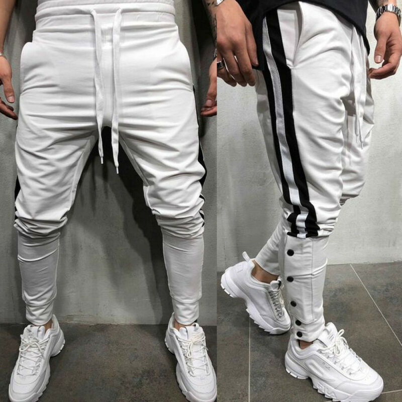 New Trendy Men Trousers Sweatpants Harem Pants Trouser Casual Running Tracksuit Joggers Sportwear Dance Baggy Slim Fit Elastic