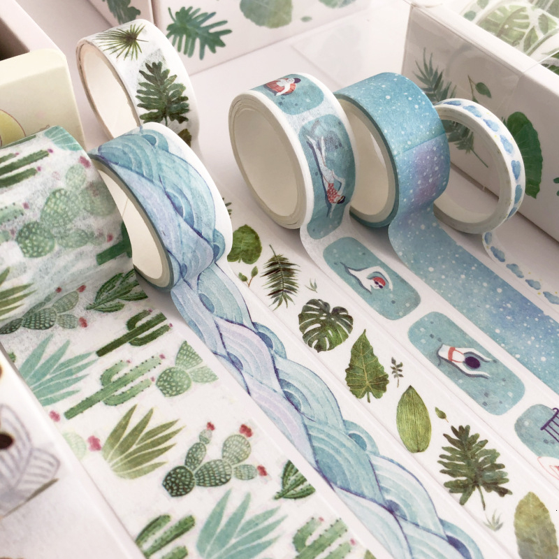 8 Pcs/Set Plant Cactus Washi Tape Set Adhesive Tape DIY Scrapbooking Sticker Label Masking Tapes Washitape