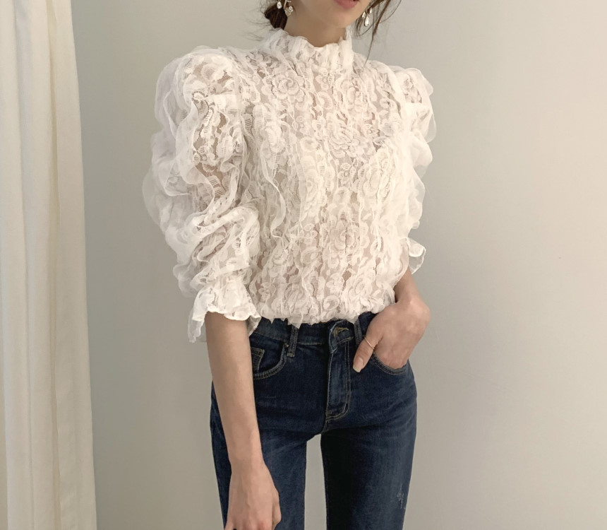 H709c5e596cc7492eae0435c22bb177d9n - Spring / Autumn Stand Collar Puff Sleeves Mesh Lace Crochet Flower Blouse