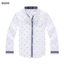 Crianças camisas de impressão âncora padrão algodão 100% camisas de manga comprida do menino apto para 3 14 anos roupas para crianças