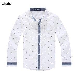 Image 1 - Enfants chemises impression ancre motif coton 100% à manches longues garçon chemises idéal pour 3 14 ans enfants vêtements