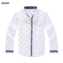 Kinderen Shirts Afdrukken Anker Patroon Katoen 100% Lange Mouwen Jongen Shirts Fit Voor 3 14 Jaar Kinderen kleding