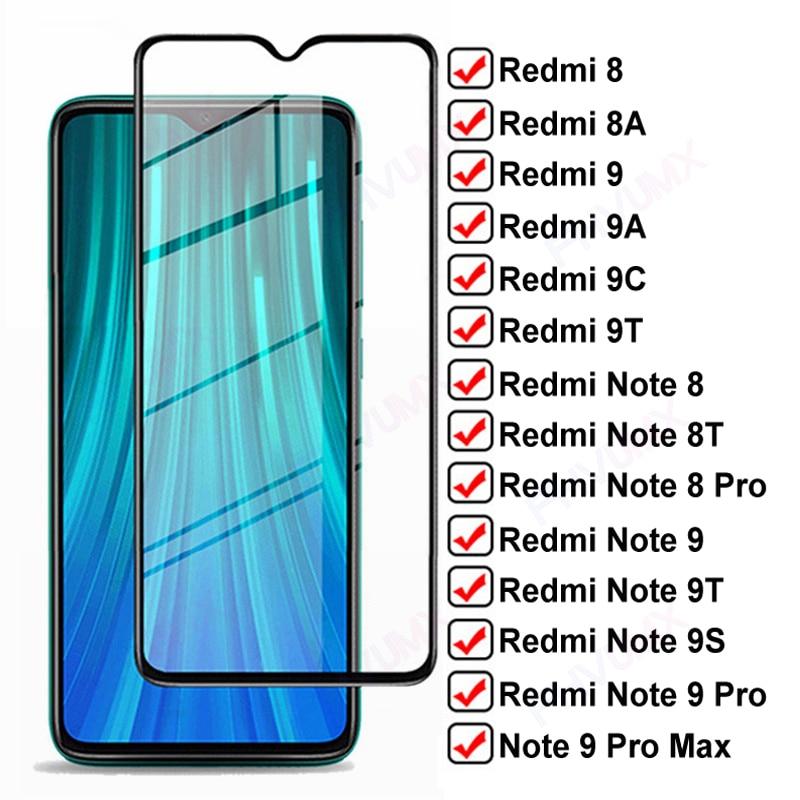 Protector de pantalla de vidrio templado 11D para Xiaomi Redmi 8, película protectora de vidrio, 8A, 9, 9A, 9C, 9T, Redmi Note 8, 9 Pro, Max, 8T, 9S