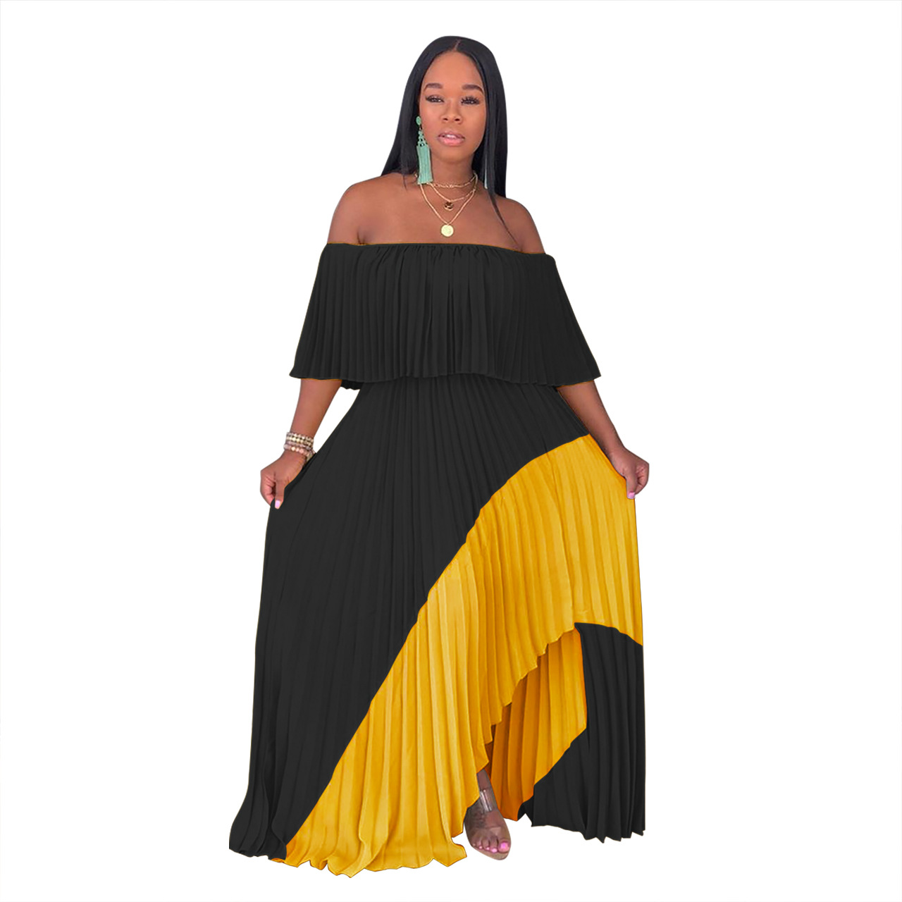 Women's Sexy Off the Shoulder Pleated Dress Casual Vintage Chiffon Maxi Dress 2019 Summer Solid Asymmetrical Party Dresses