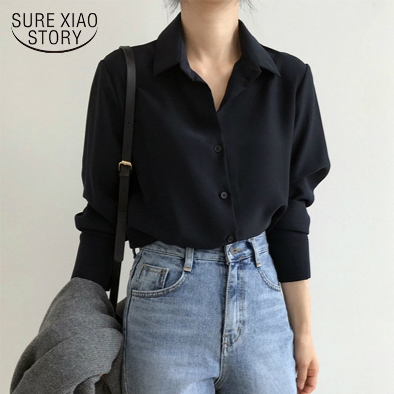 New Women's Shirt Classic Chiffon Blouse Female Plus Size Loose Long Sleeve Shirts Lady Simple Style Tops Clothes Blusas 6830 50