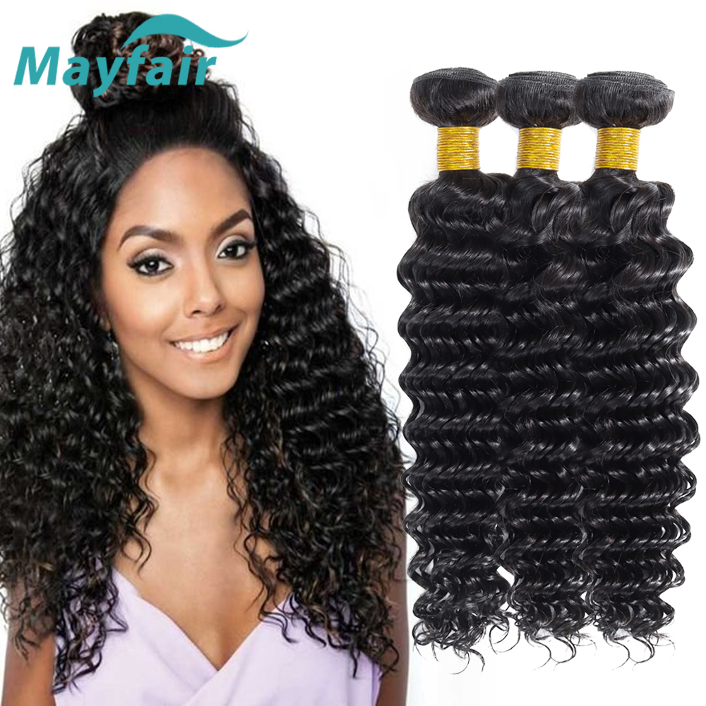 Mayfair Hair Deep Wave Bundles Indian Human Hair Weave Bundles 100% Non Remy Hair Extensions Double Weft Natural Color