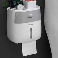 Untior Plastic Wc-papier Houders Creatieve Bad Waterdicht Tissue Box Wall Mounted Opbergdoos Dubbele Laag Wc Tissue Case