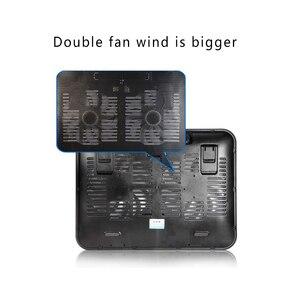 Image 5 - 高品質14インチのノートブッククーラー5vデュアルファンusb外部ラップトップ冷却パッドスリムスタンド高速サイレント金属パネルファン