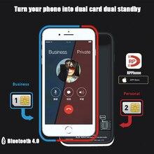 Adaptateur double Carte Sim Bluetooth étui pour iphone 6 PLUS 7 PLUS 8 PLUS 6S PLUS Mince Double Veille Adaptateur Actif Sim porte carte
