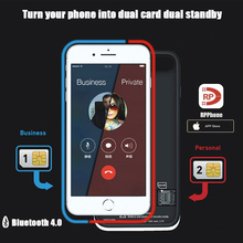 Dual Sim Adattatore per Schede di Caso di Bluetooth per il iphone 6 PLUS 7 PLUS 8 PIÙ di 6S PLUS Slim Dual Standby adattatore Attivo Sim del Supporto di Carta