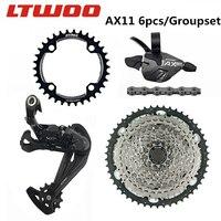 Conjunto de alavanca de câmbio de bicicleta ax11 mtb  desviador traseiro de bicicleta 11 s + roda livre/104bcd e coroa dentada + 11 velocidades para slx nx g