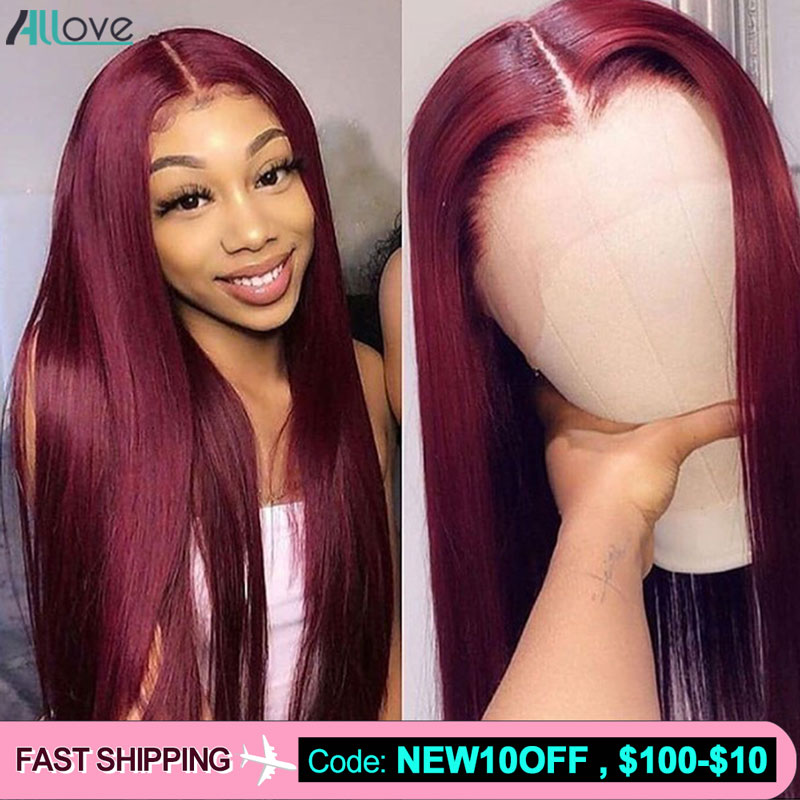Allove Burgundy 99J Lace Front Wig Red Wig 1B 99J Ombre Human Hair Wig Straight Lace Front Human Hair Wigs Brazilian Lace Wigs