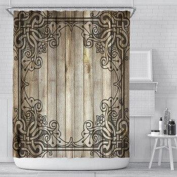 цена на Retro 3D Wood Grain Bathroom Curtain Printed Polyester Waterproof Wood Texture Shower Curtain With Hooks Accessories