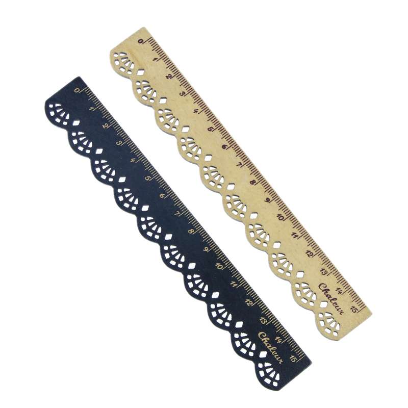2 Pcs Beautiful Stylish Korea Stationery Lace Wood Ruler Sewing Ruler Office School Supplies