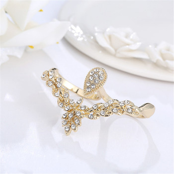 MLING 2020 Newest Gold Crystal Rings Vintage Two Fingers Water Drop Geometric Rings for Women