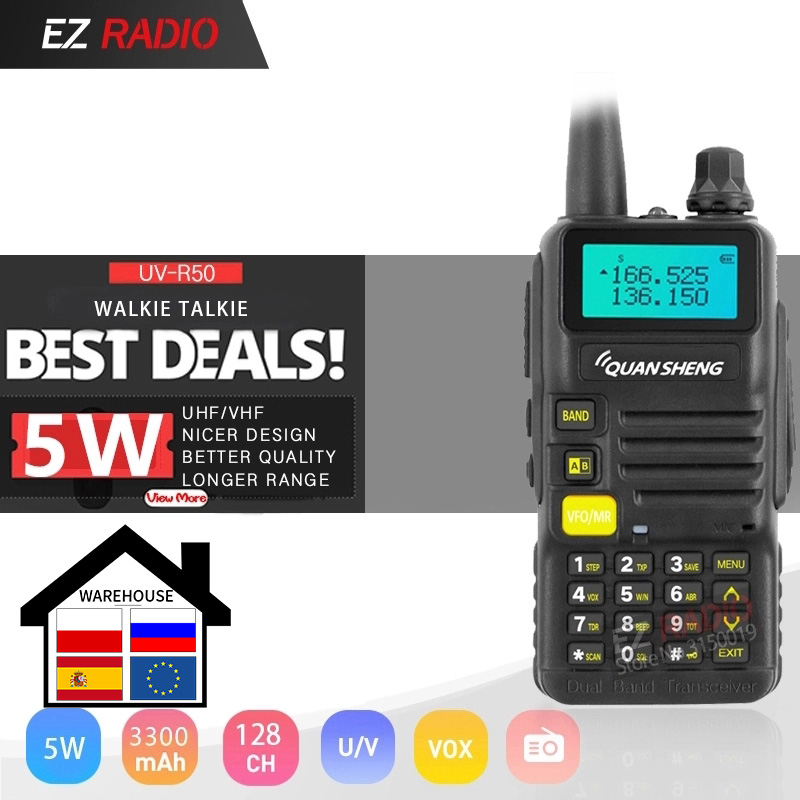 Quansheng Walkie-Talkie Ham Radio Vhf-Tg-Uv2 UHF Hot 3300mah UV-R50-2 5W