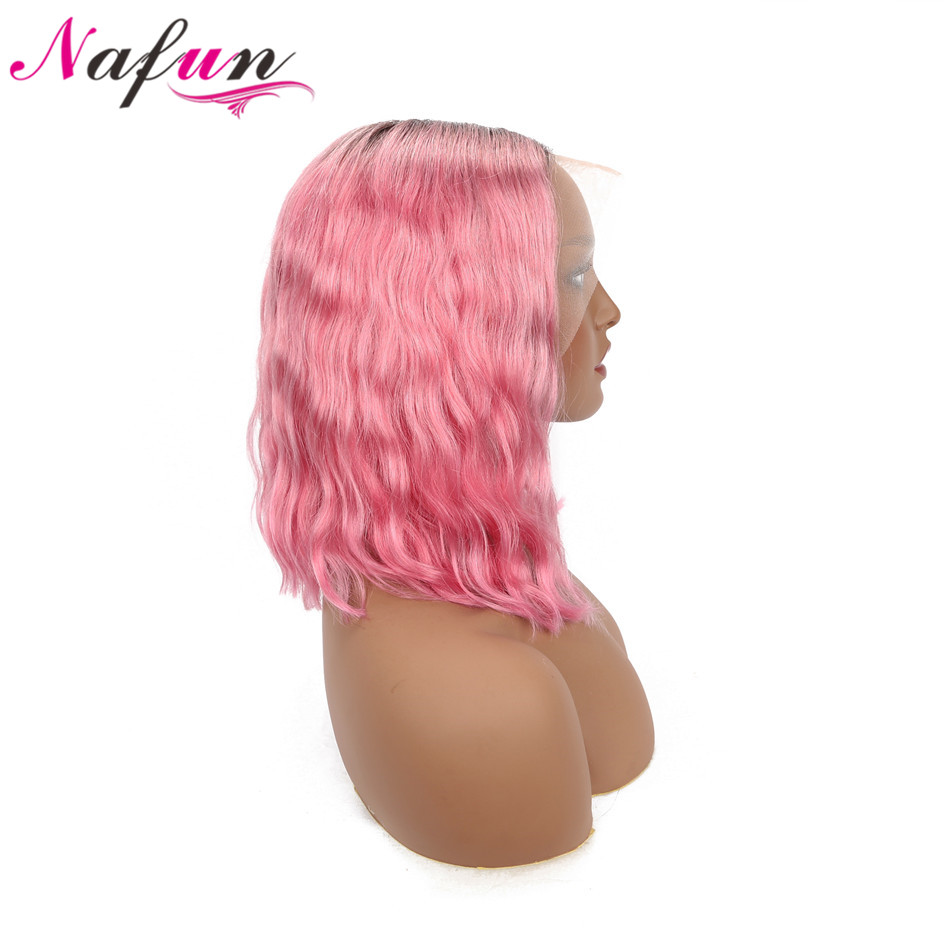 13x4 T1B Hot Pink/Gray/Purple/ Blonde Lace Front Wig Short Human Hair Wigs Peruvian 613 Lace Front Wig Remy Body Wave Bob Wig